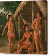 A Leeward Islands Carib Family Outside A Hut Canvas Print