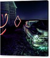 A Light Painted Scene Of A Rusty Caddy By A Barn And Cornfield Canvas Print