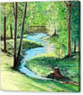 A Little Brook With A Bridge Canvas Print