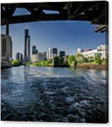 A Look At The Chicago Skyline From Under The Roosevelt Road Bridge  Canvas Print