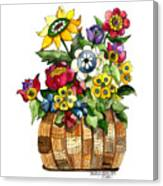 A Lovely Basket Of Flowers Canvas Print