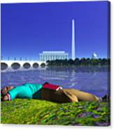 A Lunch Break On The Potomac Canvas Print