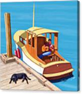 A Man, A Dog And An Old Boat Canvas Print