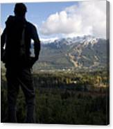 A Man Admires The View Over The Valley Canvas Print