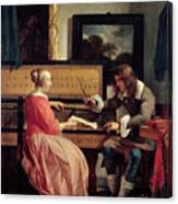 A Man And A Woman Seated By A Virginal Canvas Print