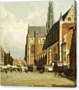 A Market By The St. Bavo Church Canvas Print