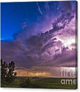 A Massive Thunderstorm Lit Internally Canvas Print