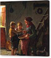 A Meal. Two Boys And A Grandmother Tasting The Potato Soup Canvas Print