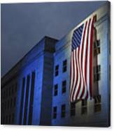 A Memorial Flag Is Illuminated On The Canvas Print