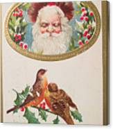 A Merry Christmas From Santa Claus Vintage Greeting Card With Robins Canvas Print