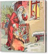 A Merry Christmas Vintage Greetings From Santa Claus And His Gifts Canvas Print