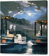 A Midnight Race On The Mississippi Canvas Print