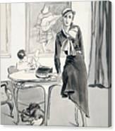 A Model Wearing Designer Clothing Canvas Print