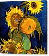 A Modern Look At Vincent's Vase With 5 Sunflowers Canvas Print