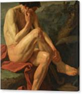 A Naked Man Sitting In A Landscape Canvas Print