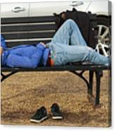 A Nap In The Park Canvas Print