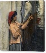 A Neapolitan Flax Spinner John William Waterhouse Canvas Print