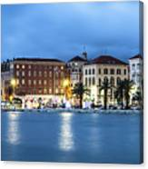 A Night View Of Split Old Town Waterfront In Croatia Canvas Print