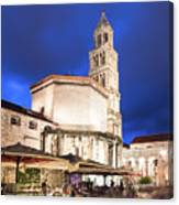 A Night View Of The Cathedral Of Saint Domnius In Split Canvas Print