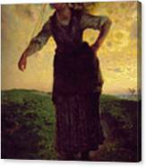 A Norman Milkmaid At Greville Canvas Print