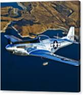 A North American P-51d Mustang Flying Canvas Print