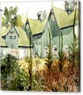Watercolor Of An Old Wooden Barn Painted Green With Silo In The Sun Canvas Print