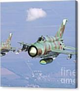 A Pair Of Bulgarian Air Force Mig-21bis Canvas Print