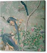 A Pair Of Magpie Jays  Vintage Wallpaper Canvas Print