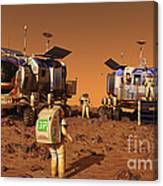 A Pair Of Manned Mars Rovers Rendezvous Canvas Print
