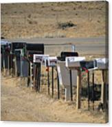 A Parade Of Mailboxes On The Outskirts Canvas Print