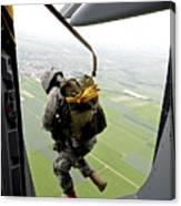 A Paratrooper Executes An Airborne Jump Canvas Print