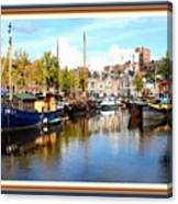 A Peaceful Canal Scene - The Netherlands L A S With Decorative Ornate Printed Frame. Canvas Print