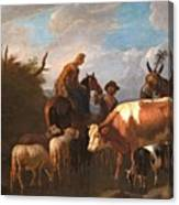 A Peasant Couple Amongst Their Cattle And Sheep Canvas Print