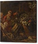 A Peasant Family Dining In An Interior  Canvas Print