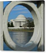 A Peek At The Jefferson Memorial Canvas Print