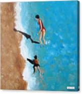 A Piece Of The Beach - Orange Swim Canvas Print