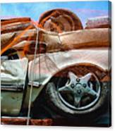 A Pile Of Tied And Netted Autos Canvas Print