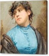 A Portrait Of A Young Woman In A Blue Dress Canvas Print