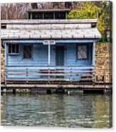 A Raft House Moored To The Shoreline Of Ada Ciganlija Islet Canvas Print