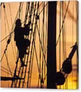 A Reenactors Climbs Up A Reconstructed Canvas Print