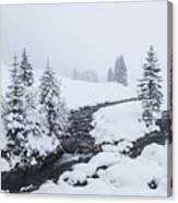 A River And Winter Landscape In Austria Canvas Print