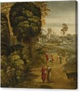 A River Landscape With Figures On A Country Road Canvas Print