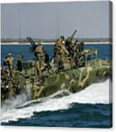 A Riverine Command Boat Conducts Canvas Print