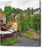 A Riverside Cafe Along The Vltava River In The Czech Republic Canvas Print