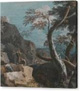 A Rocky Wooded Landscape With Three Peasants Canvas Print