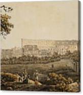 A Roman Landscape With The Colosseum And Figural Staffage Canvas Print