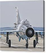 A Romanian Air Force Mig-21c Taxiing Canvas Print
