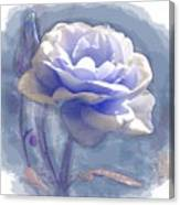A Rose In Pastel Blue Canvas Print