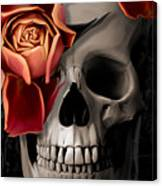 A Rose On The Skull Canvas Print