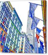 A Row Of Flags In The City Of New York 1 Canvas Print